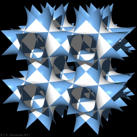 Double ruled triply periodic surface